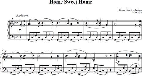 Home Musical by Home Sweet Home Piano Sheet Home Sweet Home Score