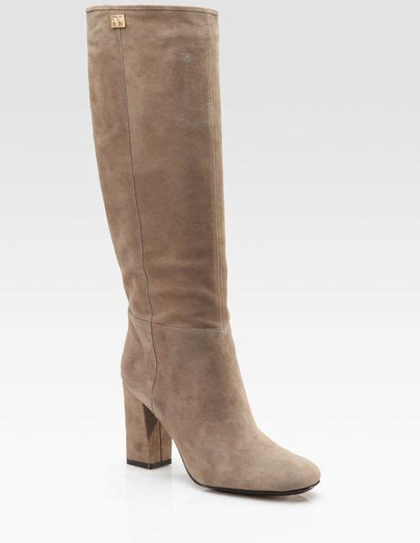 diane furstenberg youth suede knee high boots in brown