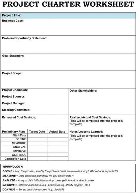 Project Charter Template Project Charter Template Exles Of A Simple Project Charter Project Charter Template Excel Free