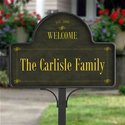 personalized family welcome yard sign