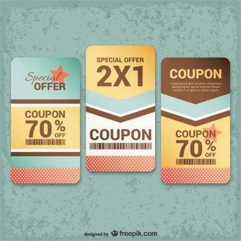 vintage coupons pack vector free download