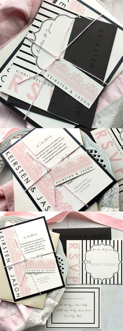 wedding invitations black and pink modern wedding invitations black and pink wedding lace wedding invitations lace invite