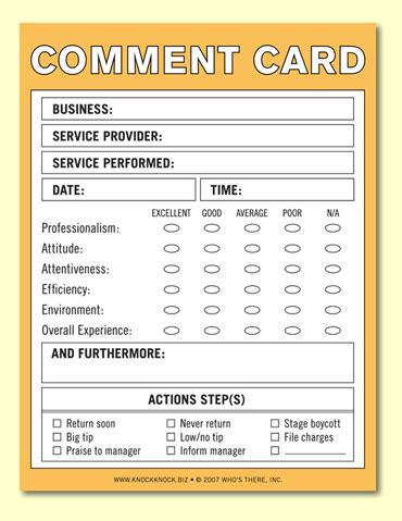 Service Card Template by Generic Comment Card Comment Cards Cards