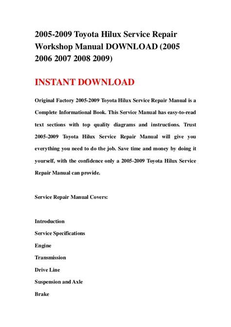 service manual how to download repair manuals 2009 nissan gt r regenerative braking nissan 2005 2009 toyota hilux service repair workshop manual download 2005