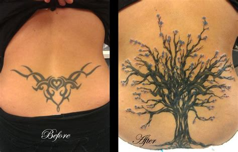back cover up tattoos before and after cover up from tribal