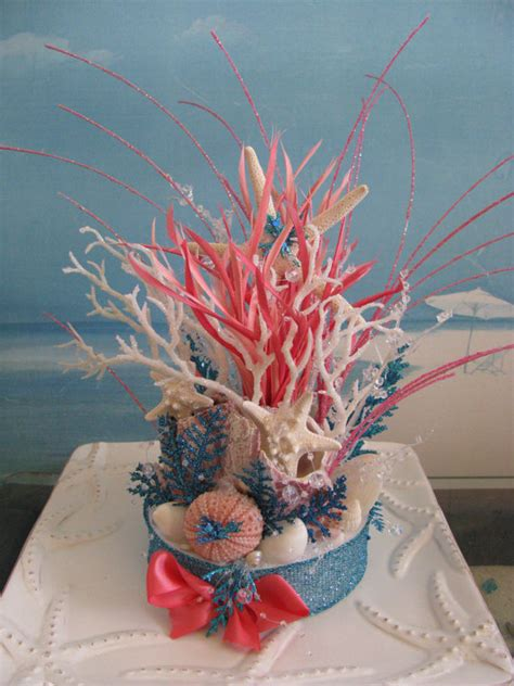 coral reef centerpieces coral reef wedding cake topperbeach wedding