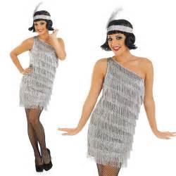 great gatsby themed fancy dress ladies silver flapper fancy dress cosume gatsby 20s