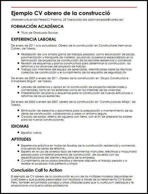 Modelo De Curriculum Vitae Para Trabajo En Construccion Ejemplo Cv Obrero De La Construccion Micvideal