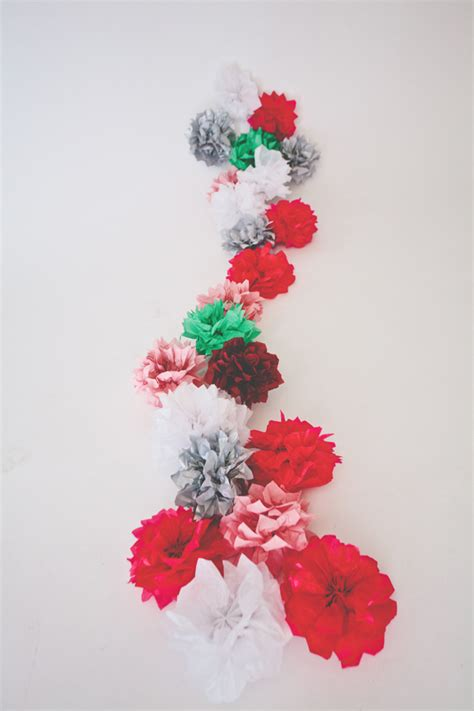 Make Paper Garland - tissue paper flower garland a subtle revelry