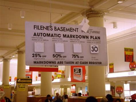 markdown sign at flagship filene s basement store in