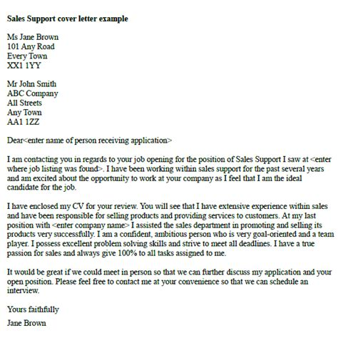 Technical Sales Support Cover Letter by Sales Cover Letter Exles