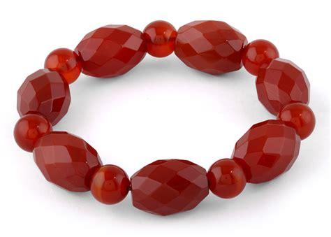 carnelian faceted gemstone bracelet
