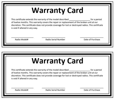 Warranty Card Template Word by Warranty Certificate Templates Blank Certificates