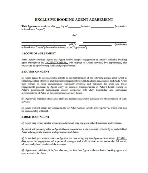 entertainment contract template entertainment business template templates