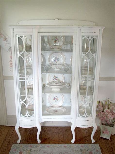 gorgeous antique white china cabinet with curved glass