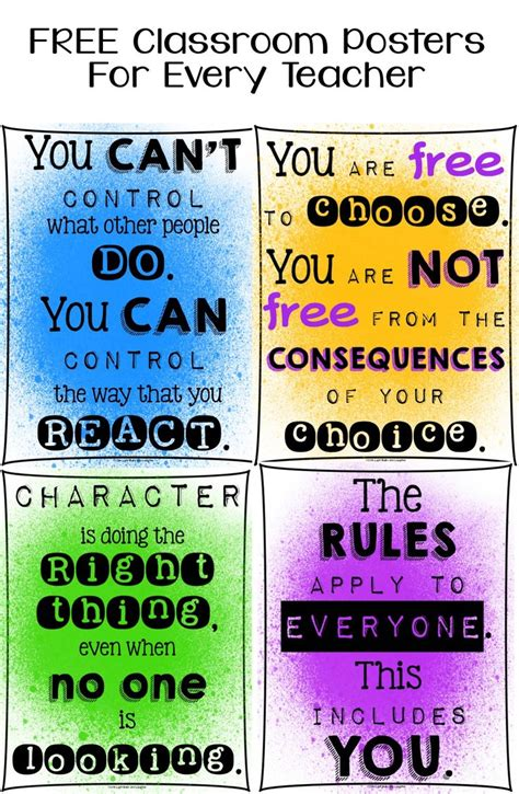 free printable educational poster free classroom posters for every teacher character