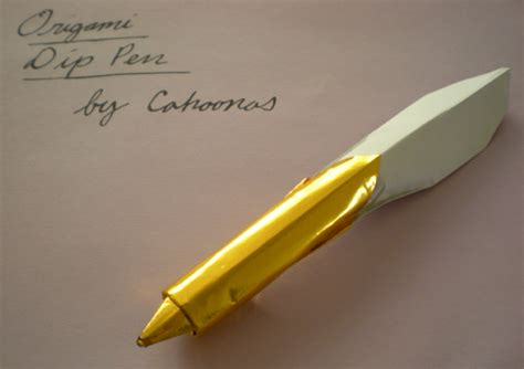 Origami Quill Pen - functional origami dip pen by cahoonas on deviantart