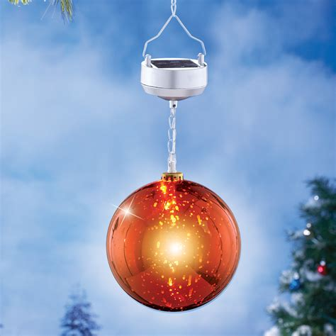 solar power hanging christmas balls solar lighted hanging ornament by collections etc ebay