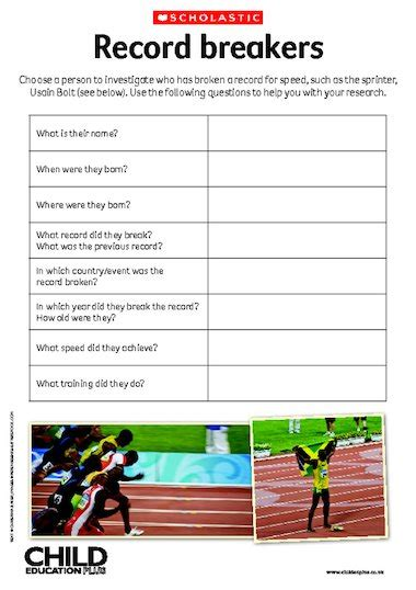 biography of usain bolt ks2 record breakers research activity free primary ks2