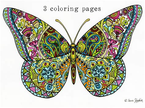 Sue Zipkin printable set of 3 butterfly mandala & flower