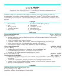 Sles Of Administrative Resumes by Administrative Assistant Resume Exle Free Admin Sle Resumes Livecareer