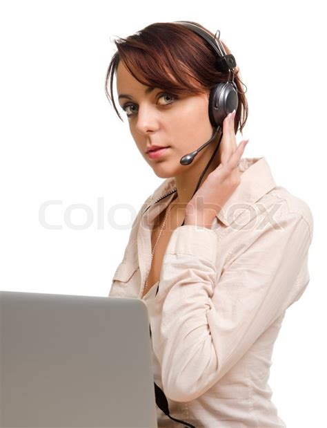 how to a to listen when called wearing a headset listening to a call stock photo colourbox