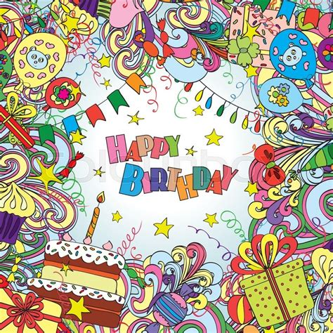 Doodle Souvenir Wisuda Aniversarry Dll happy birthday greeting card on white background with celebration elements bright and