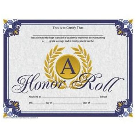 A B Honor Roll Certificate Template by Honor Roll Certificate 30 Pack Downloadable Templates