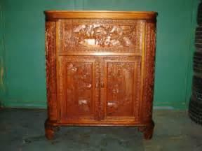 Open Bar Cabinet Antique Carved Fold Open Bar Liquor Cabinet