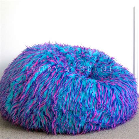 shaggy bean bag chair large shaggy fur beanbag cover blue pink from ivory and