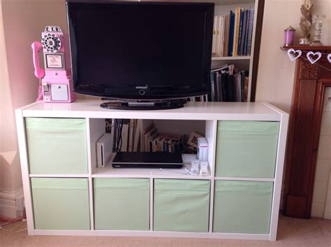 very quick ikea hack expedit kallax bookshelf to tv