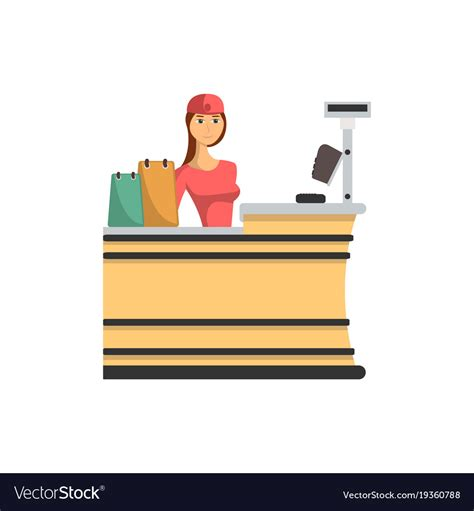 Checkout Register Cashier supermarket checkout counter with cashier icon vector image