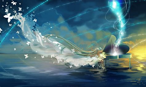 wallpaper anime ocean anime series character sea sky dress piano vocaloid