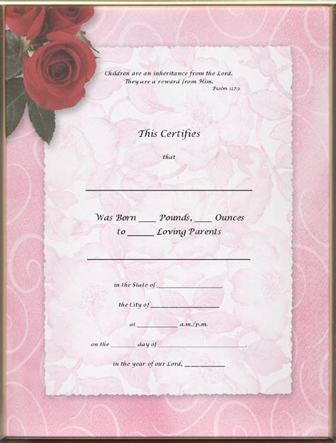 baby doll birth certificate template 6 best images of pink blank birth certificate reborn