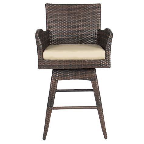 swivel wicker bar stools outdoor patio furniture all weather brown pe wicker swivel