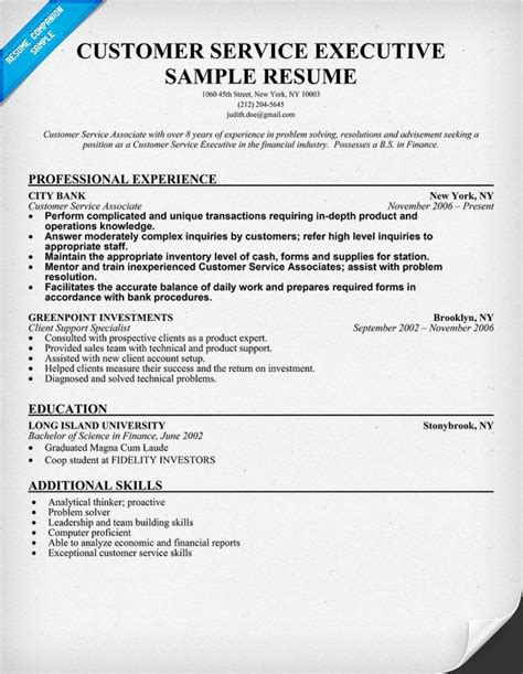 resume format customer service customer service executive resume sle resumecompanion