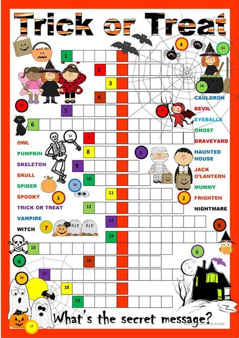 printable halloween board game esl halloween crossword puzzle worksheet free esl printable