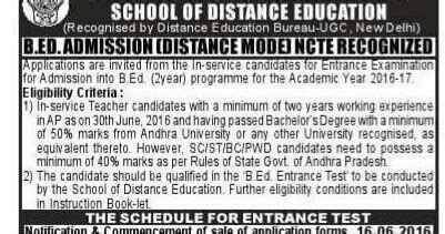 Au Distance Education Mba Notification 2017 by Au Distance B Ed Entrance Test 2016 Notification Ts