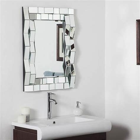 iso modern rectangular beveled bathroom mirror decor