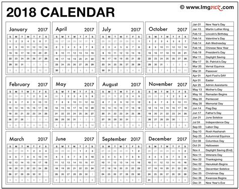 Calendar 2018 With Holidays Usa Printable Blank 2018 Calendar With Holidays Printable Pdf Template