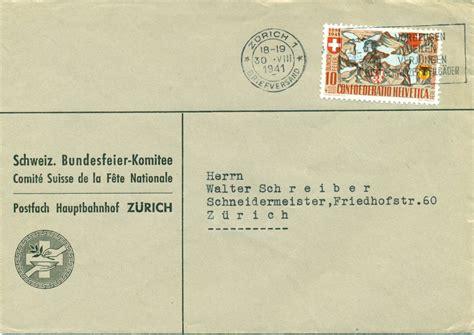 Schweiz Brief Absender 1941 30 08 z 252 rich 1 briefversand 10 rp zu nr b13