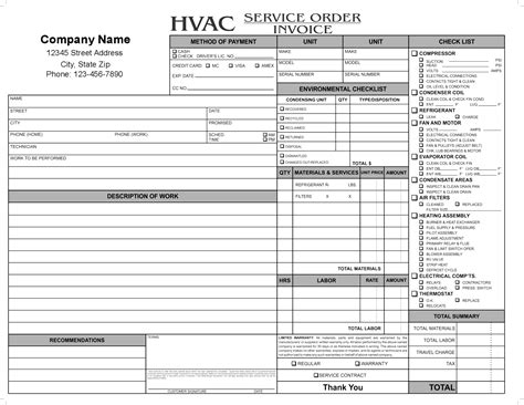 Hvac Invoice Forms Invoice Template Ideas Service Order Invoice Template