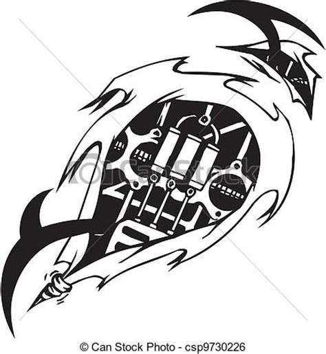clip art vector of biomechanical designs vector