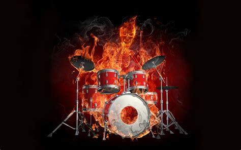 skeleton  drums flame effect wallpaper hd