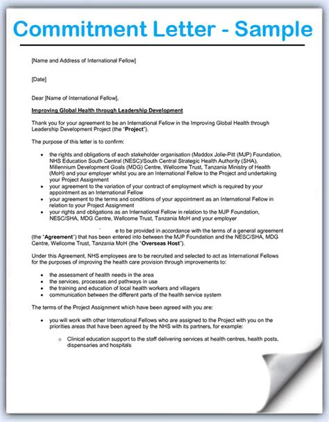 Commitment Letter To Organization Commitment Form Template