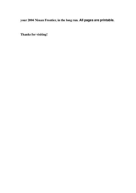 2004 frontier owner s manual 2004 nissan frontier service repair manual download