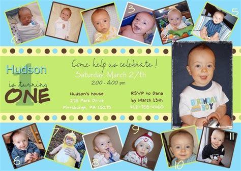 Custom Photo Card Collage Baby Boy First Birthday Invitation 1st Birthday Collage Template