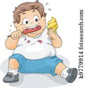 vector  fat boy eating burger clipart