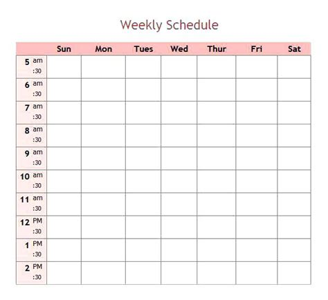 Download Work Schedule Template Onemonthnovel Info 7 Day Weekly Work Schedule Template