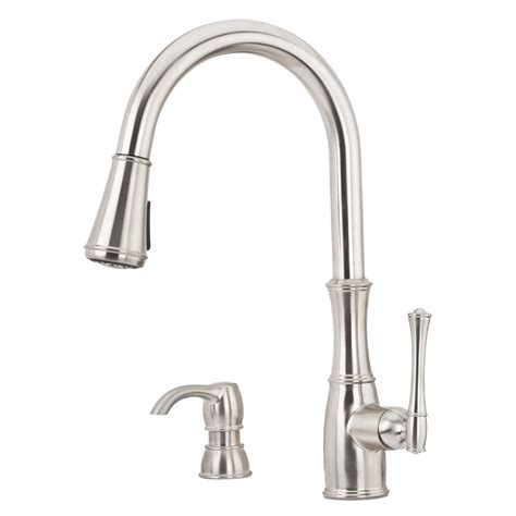 pfister hanover single handle pull down sprayer kitchen faucet in stainless steel gt529tms the pfister wheaton single handle pull down sprayer kitchen